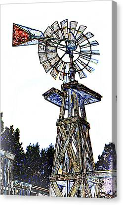 Color Drawing Antique Windmill 3005.05 Canvas Print by M K  Miller