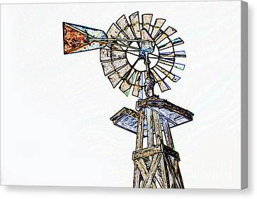 Color Drawing Of Old Windmill 3009.04 Canvas Print by M K  Miller