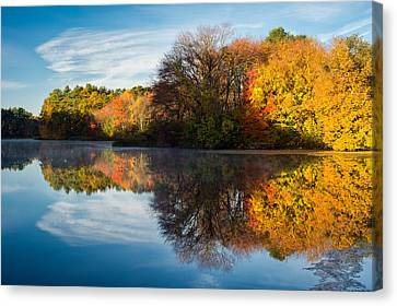 Color On Grist Mill Pond Canvas Print by Michael Blanchette
