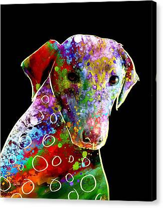 Color Splash Abstract Dog Art  Canvas Print by Ann Powell