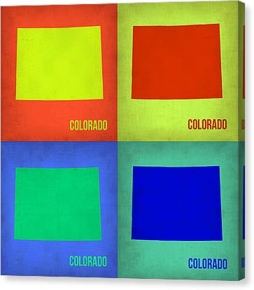 Colorado Pop Art Map 2 Canvas Print by Naxart Studio
