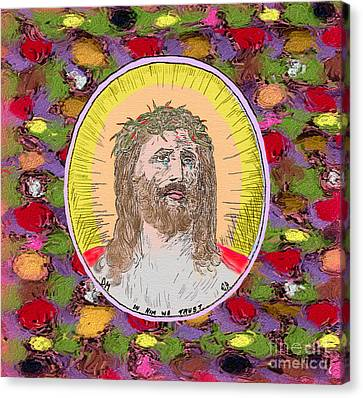 Colored Background Jesus Canvas Print by Donna Munro