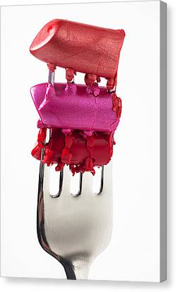 Colored Lipstick On Fork Canvas Print by Garry Gay