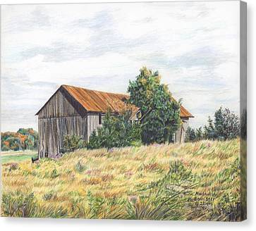 Colored Pencil Barn Canvas Print by Marshall Bannister