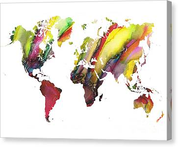 Colored World Map Canvas Print by Justyna JBJart