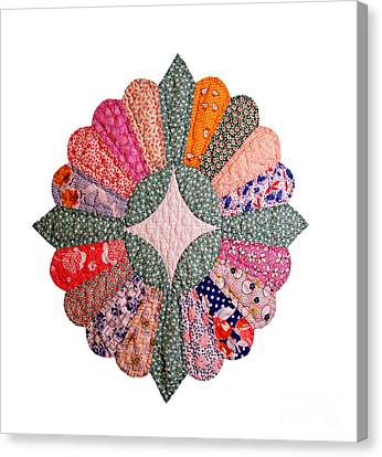 Colorful 1920s Quilt Block Isolated Canvas Print by Susan Montgomery