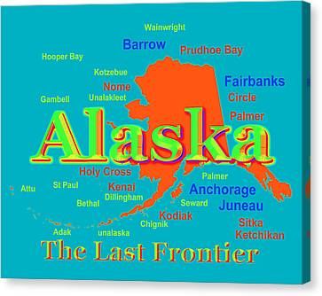 Colorful Alaska State Pride Map Silhouette  Canvas Print by Keith Webber Jr