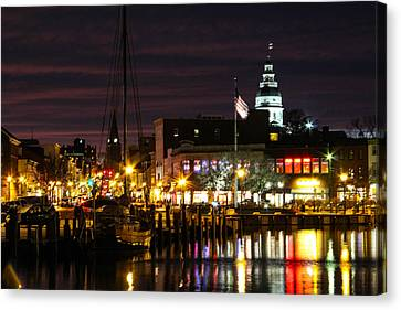 Colorful Annapolis Evening Canvas Print by Jennifer Casey