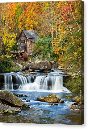 Colorful Autumn Grist Mill Canvas Print by Lori Coleman