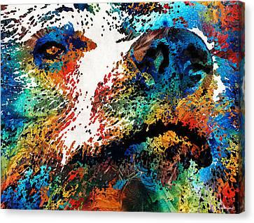 Colorful Bear Art - Bear Stare - By Sharon Cummings Canvas Print by Sharon Cummings