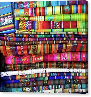 Colorful Blankets At Indigenous Market Canvas Print by Miva Stock