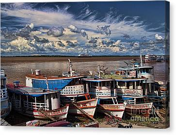 Colorful Boats On The Amazon River Canvas Print by David Smith