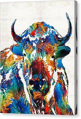Colorful Buffalo Art - Sacred - By Sharon Cummings Canvas Print by Sharon Cummings