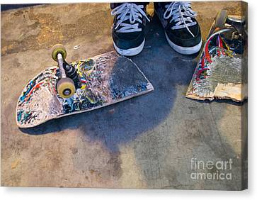 Colorful Busted Skateboard With Shoes  Canvas Print by Kate Sumners