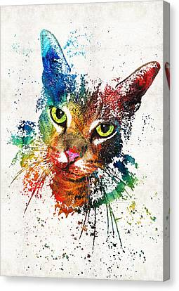 Colorful Cat Art By Sharon Cummings Canvas Print by Sharon Cummings