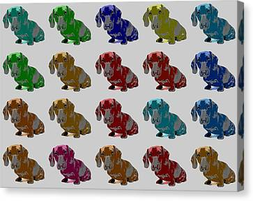 Colorful Dachshund Pop Art Poster Canvas Print by Dan Sproul