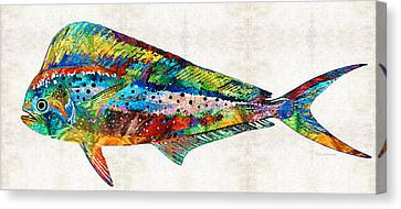 Colorful Dolphin Fish By Sharon Cummings Canvas Print by Sharon Cummings
