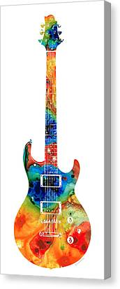Colorful Electric Guitar 2 - Abstract Art By Sharon Cummings Canvas Print by Sharon Cummings
