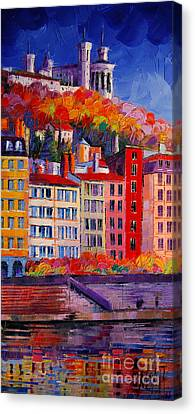 Colorful Facades On The Banks Of Saone - Lyon France Canvas Print by Mona Edulesco
