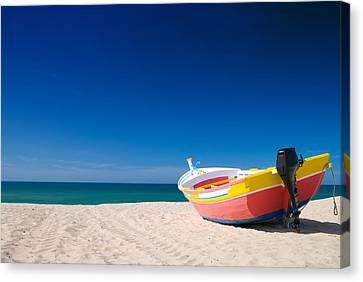 Colorful Fishing Boat Algarve Portugal Canvas Print by Amanda And Christopher Elwell