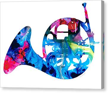 Colorful French Horn 2 - Cool Colors Abstract Art Sharon Cummings Canvas Print by Sharon Cummings