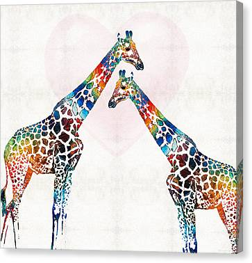 Colorful Giraffe Art - I've Got Your Back - By Sharon Cummings Canvas Print by Sharon Cummings