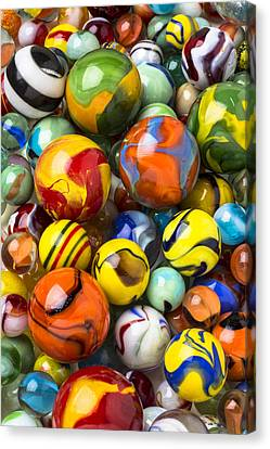 Colorful Glass Marbles Canvas Print by Garry Gay