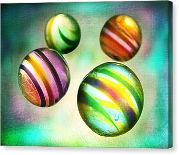 Colorful Glass Marbles Canvas Print by Marianna Mills