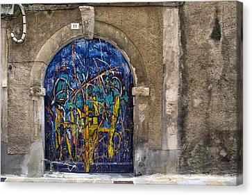 Colorful Graffiti Door Canvas Print by Georgia Fowler