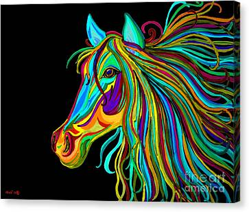 Colorful Horse Head 2 Canvas Print by Nick Gustafson