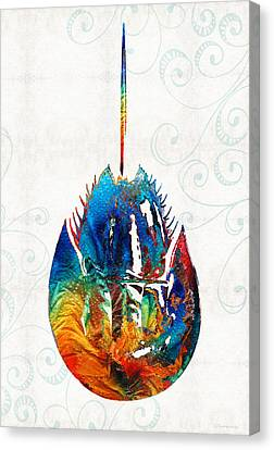 Colorful Horseshoe Crab Art By Sharon Cummings Canvas Print by Sharon Cummings