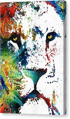 Zoo Animals Canvas Print featuring the painting Colorful Lion Art By Sharon Cummings by Sharon Cummings