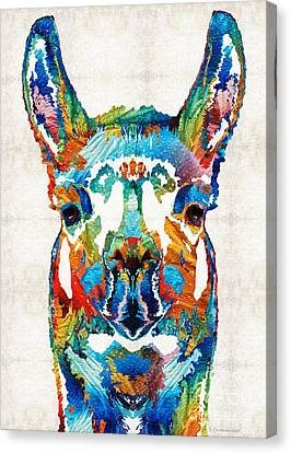 Colorful Llama Art - The Prince - By Sharon Cummings Canvas Print by Sharon Cummings