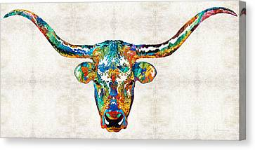 Colorful Longhorn Art By Sharon Cummings Canvas Print by Sharon Cummings