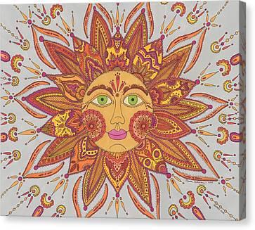 Colorful Mehndi Sun Canvas Print by Pamela Schiermeyer