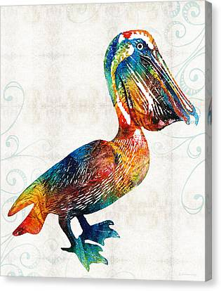Colorful Pelican Art 2 By Sharon Cummings Canvas Print by Sharon Cummings