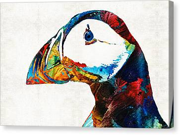 Colorful Puffin Art By Sharon Cummings Canvas Print by Sharon Cummings