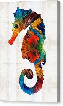Colorful Seahorse Art By Sharon Cummings Canvas Print by Sharon Cummings