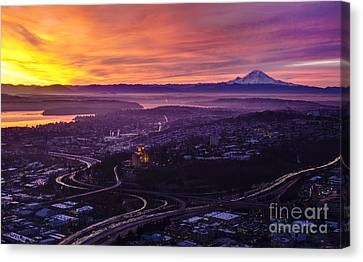 Colorful Seattle Awakening Canvas Print by Mike Reid