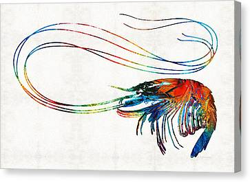 Colorful Shrimp Art By Sharon Cummings Canvas Print by Sharon Cummings