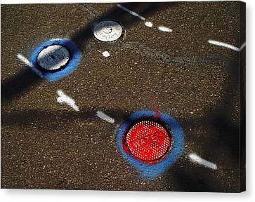 Colorful Storm Drain Covers And White Canvas Print by Panoramic Images