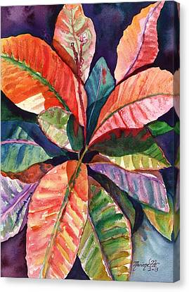Colorful Tropical Leaves 1 Canvas Print by Marionette Taboniar