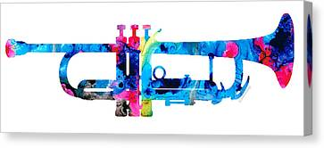 Colorful Trumpet 2 Art By Sharon Cummings Canvas Print by Sharon Cummings