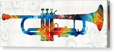 Colorful Trumpet Art Color Fusion By Sharon Cummings Canvas Print by Sharon Cummings