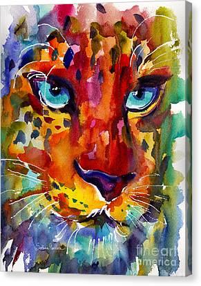 Colorful Watercolor Leopard Painting Canvas Print by Svetlana Novikova