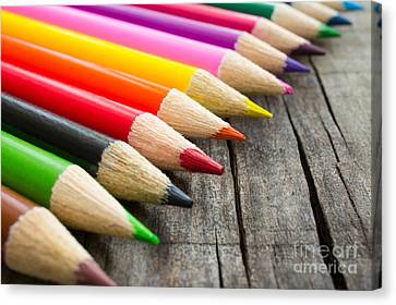 Colorful Wooden Pencil Canvas Print by Aged Pixel