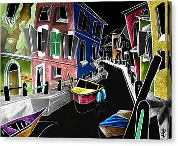 Colori Di Burano - Fine Art Venice Canal Paintings Italy Canvas Print by Arte Venezia