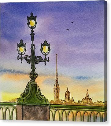 Colors Of Russia Bridge Light In Saint Petersburg Canvas Print by Irina Sztukowski
