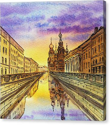 Colors Of Russia St Petersburg Cathedral I Canvas Print by Irina Sztukowski