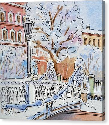 Colors Of Russia Winter In Saint Petersburg Canvas Print by Irina Sztukowski